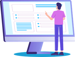 Illustration of man standing in front of monitor