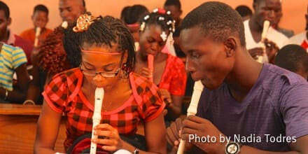 Students Playing Recorder